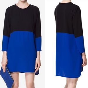 Zara two tone colorblock dress black cobalt blue